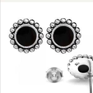 14K White Gold Onyx Post Earrings